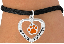 "<bR>                 EXCLUSIVELY OURS!!<BR>    CLICK HERE TO SEE 120+ EXCITING<BR>     CHANGES THAT YOU CAN MAKE!<BR>                LEAD & NICKEL FREE!!<BR>      W453SB - ""FRIENDS FOREVER""<BR>ORANGE PAW & HEART ON BRACELET<Br>                     AS LOW AS $5.90"