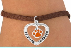 """<bR>                  EXCLUSIVELY OURS!!<BR>    CLICK HERE TO SEE 120+ EXCITING<BR>     CHANGES THAT YOU CAN MAKE!<BR>                LEAD & NICKEL FREE!!<BR>      W453SB - """"FRIENDS FOREVER""""<BR>ORANGE PAW & HEART ON BRACELET<Br>                     AS LOW AS $5.90"""