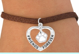 """<bR>               EXCLUSIVELY OURS!!<BR>  CLICK HERE TO SEE 120+ EXCITING<BR>   CHANGES THAT YOU CAN MAKE!<BR>              LEAD & NICKEL FREE!!<BR>    W458SB - """"FRIENDS FOREVER""""<BR>WHITE PAW & HEART ON BRACELET<Br>                    AS LOW AS $5.90"""