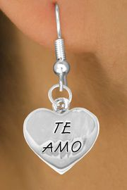 """<bR>               EXCLUSIVELY OURS!!<BR>CLICK HERE TO SEE 120+ EXCITING<BR>   CHANGES THAT YOU CAN MAKE!<BR>              LEAD & NICKEL FREE!!<BR>      W463SE - """"TE AMO"""" HEART &<Br>         EARRING FROM $4.50 TO $8.35"""