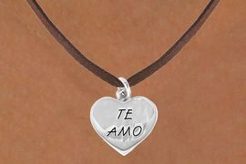 """<bR>                EXCLUSIVELY OURS!!<BR> CLICK HERE TO SEE 120+ EXCITING<BR>   CHANGES THAT YOU CAN MAKE!<BR>               LEAD & NICKEL FREE!!<BR>      W463SN - """"TE AMO"""" HEART &<Br>        NECKLACE AS LOW AS $4.50"""