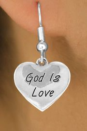 """<bR>               EXCLUSIVELY OURS!!<BR>CLICK HERE TO SEE 120+ EXCITING<BR>  CHANGES THAT YOU CAN MAKE!<BR>              LEAD & NICKEL FREE!!<BR>  W464SE - """"GOD IS LOVE"""" HEART<Br>   & EARRING FROM $4.50 TO $8.35"""