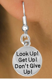 "<bR>               EXCLUSIVELY OURS!!<BR>CLICK HERE TO SEE 120+ EXCITING<BR>   CHANGES THAT YOU CAN MAKE!<BR>              LEAD & NICKEL FREE!!<BR>     W473SE - ""LOOK UP! GET UP!<Br>     DON'T GIVE UP!"" & EARRINGS<BR>                   FROM $4.50 TO $8.35"