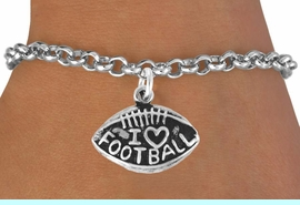 """<bR>               EXCLUSIVELY OURS!!<BR>CLICK HERE TO SEE 120+ EXCITING<BR>   CHANGES THAT YOU CAN MAKE!<BR>              LEAD & NICKEL FREE!!<BR>  W486SB - """"I LOVE FOOTBALL"""" &<br>        BRACELET AS LOW AS $4.50"""
