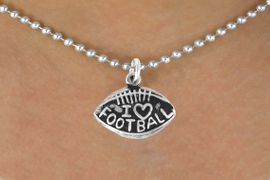 """<bR>               EXCLUSIVELY OURS!!<BR>CLICK HERE TO SEE 120+ EXCITING<BR>   CHANGES THAT YOU CAN MAKE!<BR>              LEAD & NICKEL FREE!!<BR>   W486SN - """"I LOVE FOOTBALL"""" &<br>        NECKLACE AS LOW AS $4.50"""
