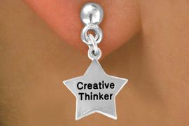 """<bR>              EXCLUSIVELY OURS!!<BR>CLICK HERE TO SEE 120+ EXCITING<BR>  CHANGES THAT YOU CAN MAKE!<BR>              LEAD & NICKEL FREE!!<BR>   W489SE - """"CREATIVE THINKER""""<Br>STAR & EARRING FROM $4.50 TO $8.35"""