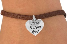"""<bR>               EXCLUSIVELY OURS!!<BR>CLICK HERE TO SEE 120+ EXCITING<BR>   CHANGES THAT YOU CAN MAKE!<BR>              LEAD & NICKEL FREE!!<BR> W503SB - """"PURE BEFORE GOD"""" &<BR>   BRACELET FROM $4.50 TO $8.35"""