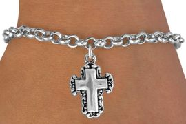<bR>               EXCLUSIVELY OURS!!<BR>CLICK HERE TO SEE 120+ EXCITING<BR>   CHANGES THAT YOU CAN MAKE!<BR>              LEAD & NICKEL FREE!!<BR>   W513SB - LACE TRIM CROSS ON<Br>   BRACELET FROM $4.50 TO $8.35