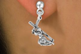<bR>               EXCLUSIVELY OURS!!<BR>CLICK HERE TO SEE 120+ EXCITING<BR>   CHANGES THAT YOU CAN MAKE!<BR>              LEAD & NICKEL FREE!!<BR>  W514SE - JESUS WITH CROSS ON<Br>      EARRINGS FROM $4.50 TO $8.35