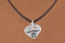 """<bR>               EXCLUSIVELY OURS!!<BR>CLICK HERE TO SEE 120+ EXCITING<BR>   CHANGES THAT YOU CAN MAKE!<BR>              LEAD & NICKEL FREE!!<BR>W524SN - """"I LOVE SOFTBALL"""" HEART &<BR>         NECKLACE AS LOW AS $4.50"""