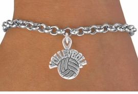 """<bR>              EXCLUSIVELY OURS!!<BR>CLICK HERE TO SEE 120+ EXCITING<BR>   CHANGES THAT YOU CAN MAKE!<BR>              LEAD & NICKEL FREE!!<BR>   W525SB - """"VOLLEYBALL"""" AND BALL<Br>         ON BRACELET AS LOW AS $4.50"""