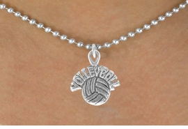 """<bR>               EXCLUSIVELY OURS!!<BR>CLICK HERE TO SEE 120+ EXCITING<BR>   CHANGES THAT YOU CAN MAKE!<BR>              LEAD & NICKEL FREE!!<BR> W525SN - """"VOLLEYBALL"""" AND BALL &<BR>       NECKLACE AS LOW AS $4.50"""