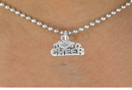 "<bR>               EXCLUSIVELY OURS!!<BR>CLICK HERE TO SEE 120+ EXCITING<BR>   CHANGES THAT YOU CAN MAKE!<BR>              LEAD & NICKEL FREE!!<BR>   W526SN - ""I LOVE TO CHEER"" &<BR>        NECKLACE AS LOW AS $4.50"