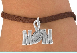 """<bR>              EXCLUSIVELY OURS!!<BR>CLICK HERE TO SEE 120+ EXCITING<BR>   CHANGES THAT YOU CAN MAKE!<BR>              LEAD & NICKEL FREE!!<BR> W532SB - """"FOOTBALL"""" MOM<Br>         ON BRACELET AS LOW AS $4.50"""