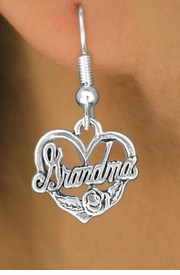 """<bR>               EXCLUSIVELY OURS!!<BR>CLICK HERE TO SEE 120+ EXCITING<BR>   CHANGES THAT YOU CAN MAKE!<BR>               LEAD & NICKEL FREE!!<BR>  W542SE - """"GRANDMA"""" & HEART<Br>        EARRINGS FROM $4.50 TO $8.35"""