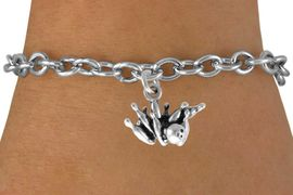 """<bR>               EXCLUSIVELY OURS!!<BR>CLICK HERE TO SEE 120+ EXCITING<BR>   CHANGES THAT YOU CAN MAKE!<BR>              LEAD & NICKEL FREE!!<BR> W547SB - """"STRIKE"""" BALL & PINS<Br>    ON BRACELET AS LOW AS $4.50"""