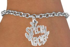 """<bR>               EXCLUSIVELY OURS!!<BR>CLICK HERE TO SEE 120+ EXCITING<BR>   CHANGES THAT YOU CAN MAKE!<BR>              LEAD & NICKEL FREE!!<BR>    W562SB - """"SPECIAL TEACHER""""<Br>    ON BRACELET AS LOW AS $4.50"""