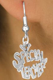"""<bR>               EXCLUSIVELY OURS!!<BR>CLICK HERE TO SEE 120+ EXCITING<BR>   CHANGES THAT YOU CAN MAKE!<BR>              LEAD & NICKEL FREE!!<BR>     W562SE - """"SPECIAL TEACHER""""<Br>    ON EARRINGS FROM $4.50 TO $8.35"""