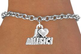 """<bR>              EXCLUSIVELY OURS!!<BR>CLICK HERE TO SEE 120+ EXCITING<BR>   CHANGES THAT YOU CAN MAKE!<BR>              LEAD & NICKEL FREE!!<BR>       W567SB - """"I LOVE MUSIC"""" &<Br>         BRACELET AS LOW AS $4.50"""
