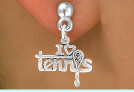 """<bR>             EXCLUSIVELY OURS!!<BR>CLICK HERE TO SEE 125+ EXCITING<BR>  CHANGES THAT YOU CAN MAKE!<BR>             LEAD & NICKEL FREE!!<BR>     W377SE - """"I LOVE TENNIS"""" &<Br>        EARRING FROM $4.50 TO $8.35"""