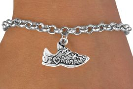 """<bR>                EXCLUSIVELY OURS!!<BR>  CLICK HERE TO SEE 65+ EXCITING<BR>    CHANGES THAT YOU CAN MAKE!<BR>               LEAD & NICKEL FREE!!<BR>W219SB - """"I LOVE RUNNING"""" SHOE<Br>      & BRACELET AS LOW AS $4.50"""