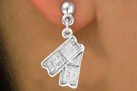 """<bR>               EXCLUSIVELY OURS!!<BR> CLICK HERE TO SEE 65+ EXCITING<BR>   CHANGES THAT YOU CAN MAKE!<BR>              LEAD & NICKEL FREE!!<BR>W238SE - """"TWO TICKETS"""" CHARM<Br>     & EARRINGS FROM $4.50 TO $8.35"""