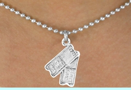 """<bR>               EXCLUSIVELY OURS!!<BR> CLICK HERE TO SEE 65+ EXCITING<BR>   CHANGES THAT YOU CAN MAKE!<BR>              LEAD & NICKEL FREE!!<BR>W238SN - """"TWO TICKETS"""" CHARM<Br>     & NECKLACE AS LOW AS $4.50"""