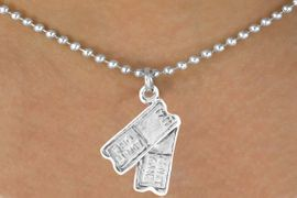 "<bR>               EXCLUSIVELY OURS!!<BR> CLICK HERE TO SEE 65+ EXCITING<BR>   CHANGES THAT YOU CAN MAKE!<BR>              LEAD & NICKEL FREE!!<BR>W238SN - ""TWO TICKETS"" CHARM<Br>     & NECKLACE AS LOW AS $4.50"