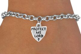 """<bR>            EXCLUSIVELY OURS!!<BR>CLICK HERE TO SEE 65+ EXCITING<BR> CHANGES THAT YOU CAN MAKE!<BR>           LEAD & NICKEL FREE!!<BR>  W257SB - """"PROTECT ME LORD""""<Br>              SHIELD & BRACELET<bR>             FROM $4.50 TO $8.35"""