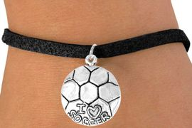 """<bR>             EXCLUSIVELY OURS!!<BR>CLICK HERE TO SEE 65+ EXCITING<BR> CHANGES THAT YOU CAN MAKE!<BR>            LEAD & NICKEL FREE!!<BR>W375SB - """"I LOVE SOCCER"""" BALL<Br>    & BRACELET AS LOW AS $4.50"""