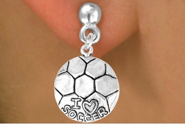 "<bR>              EXCLUSIVELY OURS!!<BR>CLICK HERE TO SEE 65+ EXCITING<BR> CHANGES THAT YOU CAN MAKE!<BR>             LEAD & NICKEL FREE!!<BR>W375SE - ""I LOVE SOCCER"" BALL<Br>     & EARRING FROM $4.50 TO $8.35"