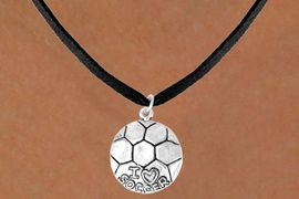 """<bR>            EXCLUSIVELY OURS!!<BR>CLICK HERE TO SEE 65+ EXCITING<BR> CHANGES THAT YOU CAN MAKE!<BR>            LEAD & NICKEL FREE!!<BR>W375SN - """"I LOVE SOCCER"""" BALL<Br>    & NECKLACE AS LOW AS $4.50"""