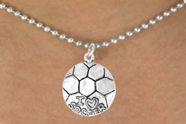 "<bR>            EXCLUSIVELY OURS!!<BR>CLICK HERE TO SEE 65+ EXCITING<BR> CHANGES THAT YOU CAN MAKE!<BR>            LEAD & NICKEL FREE!!<BR>W375SN - ""I LOVE SOCCER"" BALL<Br>    & NECKLACE AS LOW AS $4.50"