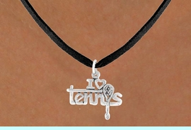 """<bR>             EXCLUSIVELY OURS!!<BR>CLICK HERE TO SEE 65+ EXCITING<BR> CHANGES THAT YOU CAN MAKE!<BR>             LEAD & NICKEL FREE!!<BR>     W377SN - """"I LOVE TENNIS"""" &<Br>      NECKLACE AS LOW AS $4.50"""