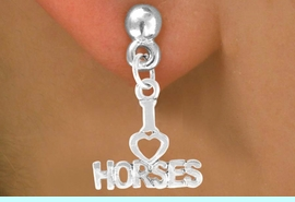 """<bR>             EXCLUSIVELY OURS!!<BR>CLICK HERE TO SEE 65+ EXCITING<BR> CHANGES THAT YOU CAN MAKE!<BR>             LEAD & NICKEL FREE!!<BR>    W379SE - """"I LOVE HORSES"""" &<Br>        EARRING FROM $4.50 TO $8.35"""