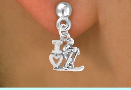 """<bR>             EXCLUSIVELY OURS!!<BR>CLICK HERE TO SEE 65+ EXCITING<BR> CHANGES THAT YOU CAN MAKE!<BR>            LEAD & NICKEL FREE!!<BR>       W396SE - """"I LOVE SKIING""""<Br>     & EARRING FROM $4.50 TO $8.35"""