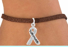 """<bR>             EXCLUSIVELY OURS!!<BR>CLICK HERE TO SEE 65+ EXCITING<BR> CHANGES THAT YOU CAN MAKE!<BR>            LEAD & NICKEL FREE!!<BR> W398SB - """"SURVIVOR"""" RIBBON<BR>& BRACELET FROM $4.50 TO $8.35"""