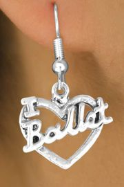"<bR>             EXCLUSIVELY OURS!!<BR>CLICK HERE TO SEE 65+ EXCITING<BR> CHANGES THAT YOU CAN MAKE!<BR>            LEAD & NICKEL FREE!!<BR>     W412SE - ""I LOVE BALLET"" &<Br>      & EARRING FROM $4.50 TO $8.35"