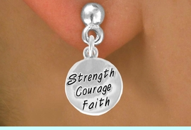"""<bR>             EXCLUSIVELY OURS!!<BR>CLICK HERE TO SEE 65+ EXCITING<BR> CHANGES THAT YOU CAN MAKE!<BR>            LEAD & NICKEL FREE!!<BR>W421SE - """"STRENGTH COURAGE<Br>       FAITH"""" CIRCLE & EARRING<Br>                  FROM $4.50 TO $8.35"""