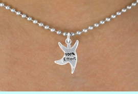 """<bR>              EXCLUSIVELY OURS!!<BR> CLICK HERE TO SEE 65+ EXCITING<BR>  CHANGES THAT YOU CAN MAKE!<BR>              LEAD & NICKEL FREE!!<BR>  W422SN - """"100% EFFORT"""" STAR<Br>MAN & NECKLACE AS LOW AS $4.50"""
