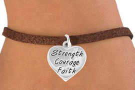 """<bR>             EXCLUSIVELY OURS!!<BR>CLICK HERE TO SEE 65+ EXCITING<BR> CHANGES THAT YOU CAN MAKE!<BR>            LEAD & NICKEL FREE!!<BR>W423SB - """"STRENGTH COURAGE<BR>       FAITH"""" HEART & BRACELET<Br>              FROM $4.50 TO $8.35"""