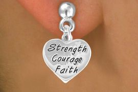 """<bR>             EXCLUSIVELY OURS!!<BR>CLICK HERE TO SEE 65+ EXCITING<BR> CHANGES THAT YOU CAN MAKE!<BR>            LEAD & NICKEL FREE!!<BR>W423SE - """"STRENGTH COURAGE<Br>       FAITH"""" HEART & EARRING<Br>           FROM $4.50 TO $8.35"""