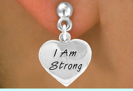 """<bR>             EXCLUSIVELY OURS!!<BR>CLICK HERE TO SEE 65+ EXCITING<BR> CHANGES THAT YOU CAN MAKE!<BR>            LEAD & NICKEL FREE!!<BR>W424SE - """"I AM STRONG"""" HEART<Br>& EARRINGS FROM $4.50 TO $8.35"""