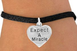 """<bR>                EXCLUSIVELY OURS!!<BR>   CLICK HERE TO SEE 65+ EXCITING<BR>    CHANGES THAT YOU CAN MAKE!<BR>               LEAD & NICKEL FREE!!<BR>     W425SB - """"EXPECT A MIRACLE""""<br>HEART & BRACELET AS LOW AS $4.50"""