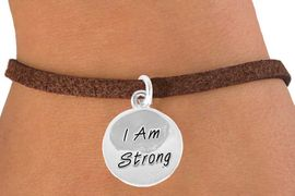 "<bR>              EXCLUSIVELY OURS!!<BR> CLICK HERE TO SEE 65+ EXCITING<BR>  CHANGES THAT YOU CAN MAKE!<BR>             LEAD & NICKEL FREE!!<BR>W428SB - ""I AM STRONG"" CIRCLE<br>     & BRACELET AS LOW AS $4.50"