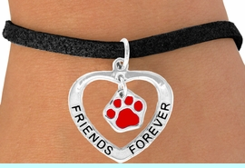 """<bR>             EXCLUSIVELY OURS!!<BR>CLICK HERE TO SEE 65+ EXCITING<BR> CHANGES THAT YOU CAN MAKE!<BR>            LEAD & NICKEL FREE!!<BR>  W451SB - """"FRIENDS FOREVER""""<BR> RED PAW & HEART ON BRACELET<Br>                  AS LOW AS $5.90"""