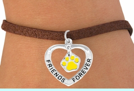"""<bR>                EXCLUSIVELY OURS!!<BR>   CLICK HERE TO SEE 65+ EXCITING<BR>    CHANGES THAT YOU CAN MAKE!<BR>               LEAD & NICKEL FREE!!<BR>     W452SB - """"FRIENDS FOREVER""""<BR>YELLOW PAW & HEART ON BRACELET<Br>                     AS LOW AS $5.90"""