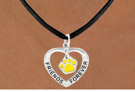 "<bR>              EXCLUSIVELY OURS!!<BR> CLICK HERE TO SEE 65+ EXCITING<BR>  CHANGES THAT YOU CAN MAKE!<BR>             LEAD & NICKEL FREE!!<BR>   W452SN - ""FRIENDS FOREVER""<br>YELLOW PAW & HEART NECKLACE<BR>                  AS LOW AS $6.25"