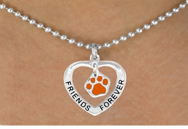 """<bR>              EXCLUSIVELY OURS!!<BR> CLICK HERE TO SEE 65+ EXCITING<BR>  CHANGES THAT YOU CAN MAKE!<BR>             LEAD & NICKEL FREE!!<BR>   W453SN - """"FRIENDS FOREVER""""<br>ORANGE PAW & HEART NECKLACE<BR>                  AS LOW AS $6.25"""
