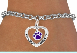 """<bR>                EXCLUSIVELY OURS!!<BR>   CLICK HERE TO SEE 65+ EXCITING<BR>    CHANGES THAT YOU CAN MAKE!<BR>               LEAD & NICKEL FREE!!<BR>     W454SB - """"FRIENDS FOREVER""""<BR>PURPLE PAW & HEART ON BRACELET<Br>                     AS LOW AS $5.90"""